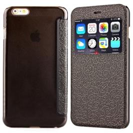 Coque iPhone 6 / 6S à rabat fenêtre porte-cartes - Noir