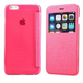 Coque iPhone 6 / 6S à rabat fenêtre porte-cartes - Rose