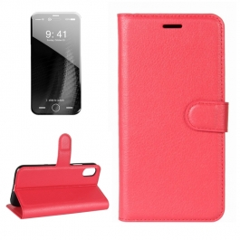 Housse porte-cartes en cuir iPhone X (Rouge)