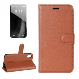 Housse porte-cartes en cuir iPhone X (Marron)