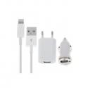 Kit recharge pour iPhone 5 - Adaptateur voiture allume-cigare, adaptateur secteur et câble Lightning