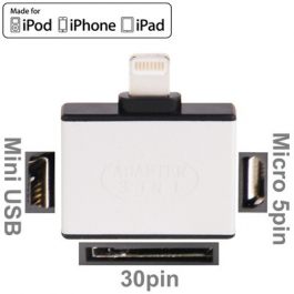 Adaptateur Lightning vers iPhone 30 broches, mini USB et micro USB
