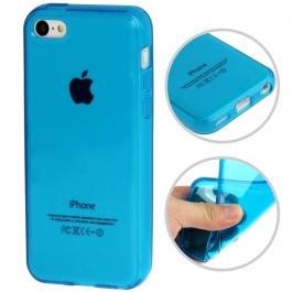 Coque iPhone 5c semi-transparente en silicone couleur bleu