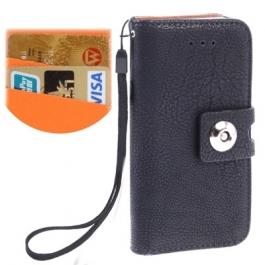 Etui en cuir avec porte-cartes iPhone 5 couleur noir
