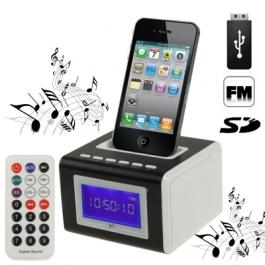 Station d'accueil Réveil iPhone radio FM, lecteur SD et USB (couleur au choix)
