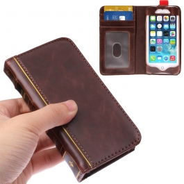 Housse en cuir design livre iPhone 5/5S couleur brun